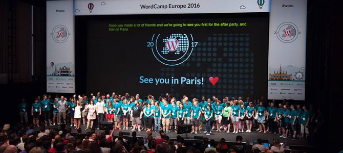 "Final presentation at WordCamp Europe 2016. The presentation slide says ""See you in Paris"" referring to WCEU in 2017."