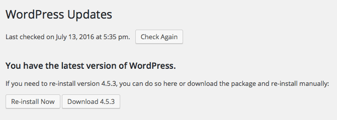 It's important to always keep your WordPress core software up-to-date.