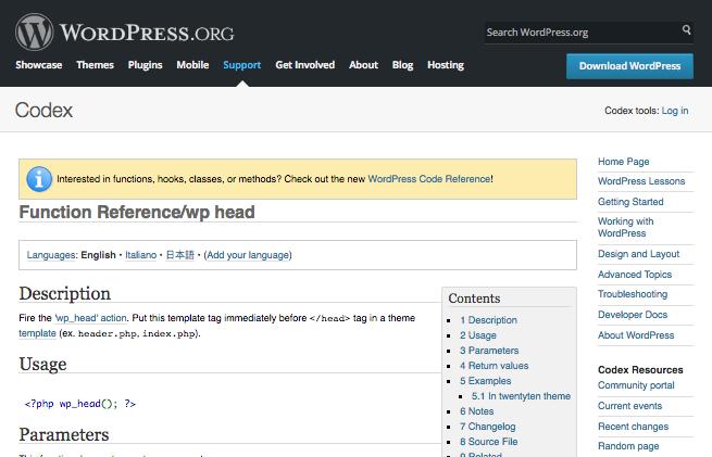 wp_head hook - Codex page
