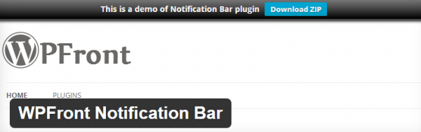 WPFront Notification Bar plugin screenshot