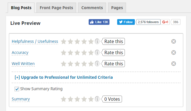 screenshot of blog post tab in rating widget menu