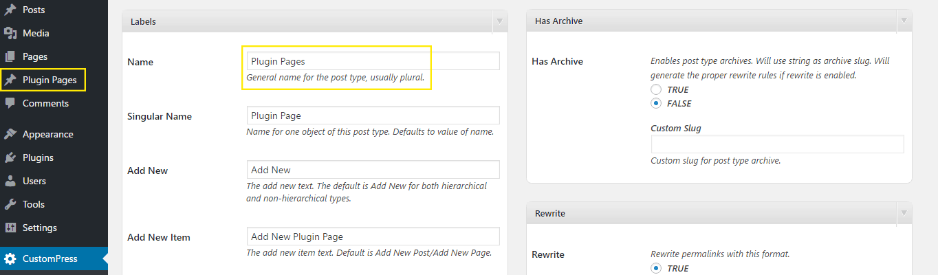 The Labels portion of the Post Type settings.