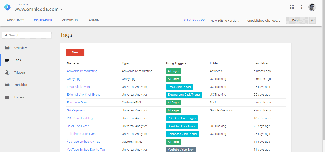 Tracking tags in Google Tag Manager.