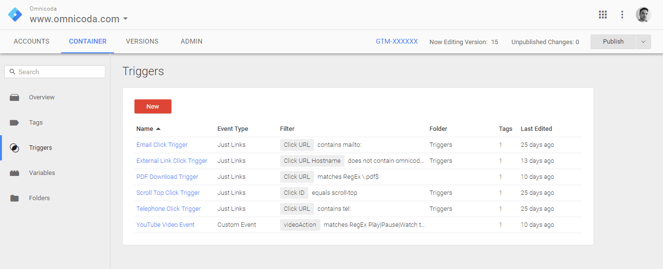 Setting triggers with Google Tag Manager.