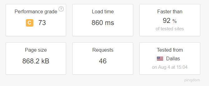 screenshot of a pingdom website speed test