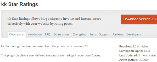 kk Star Ratings plugin screenshot from wp.org