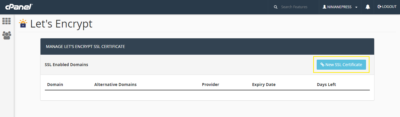 The Let's Encrypt Manager cPanel plugin page.