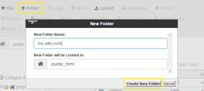 The new folder pop-up in cPanel.