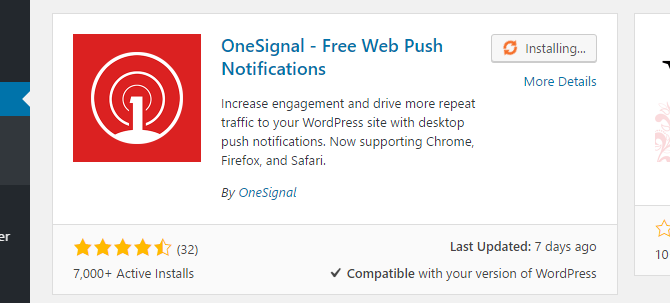screenshot of onesignal installing in wordpress dashboard