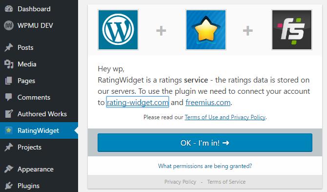 screenshot of rating-widget activation screen