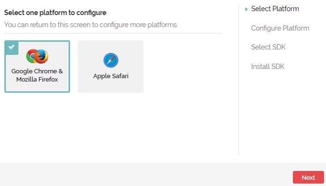 screenshot of onesignal set up process