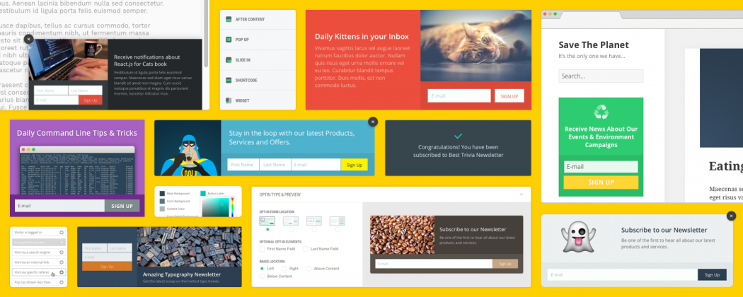 Create stunning opt-ins, pop-ups and slide-ins with Hustle.