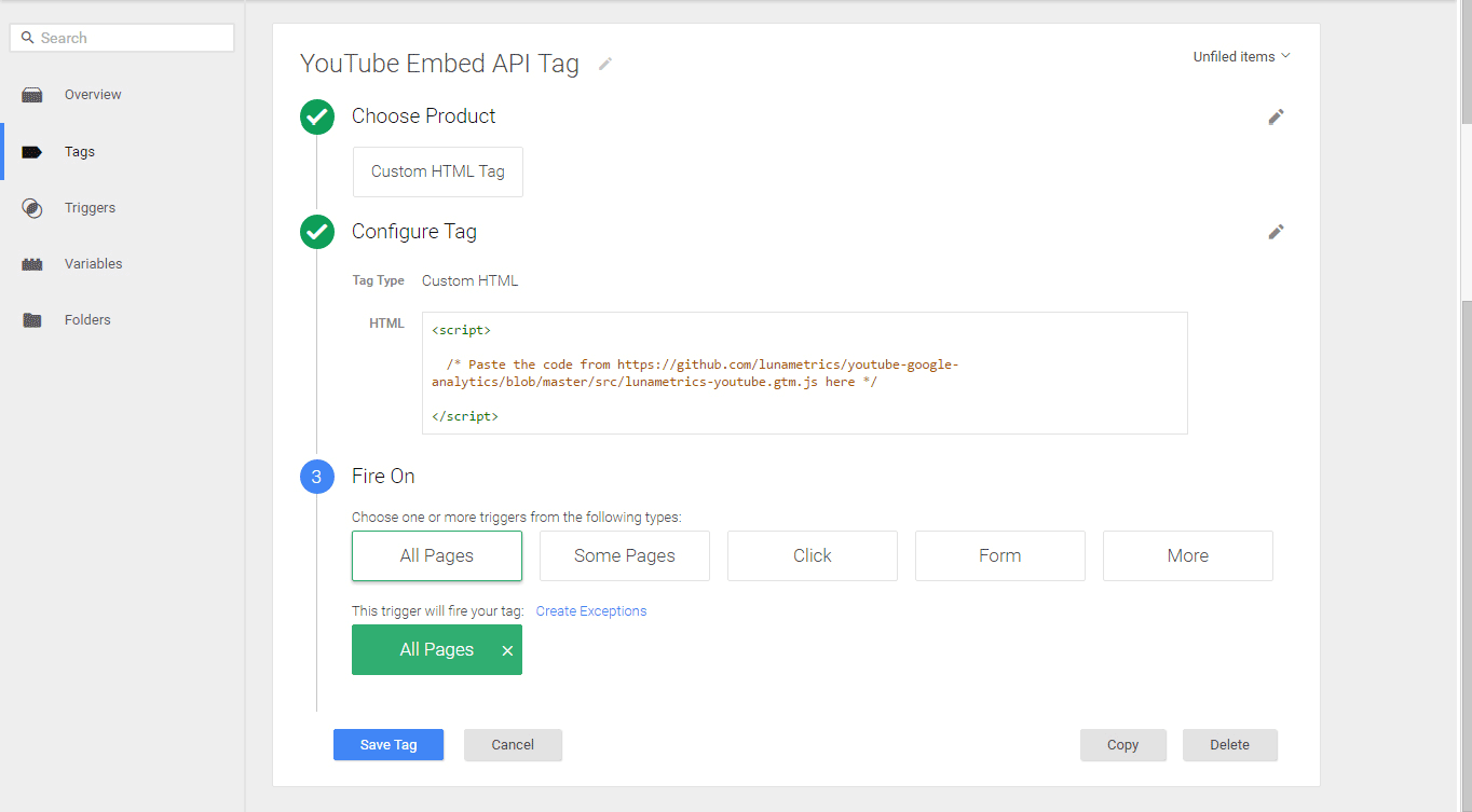 Creating a custom YouTube embed API tag.