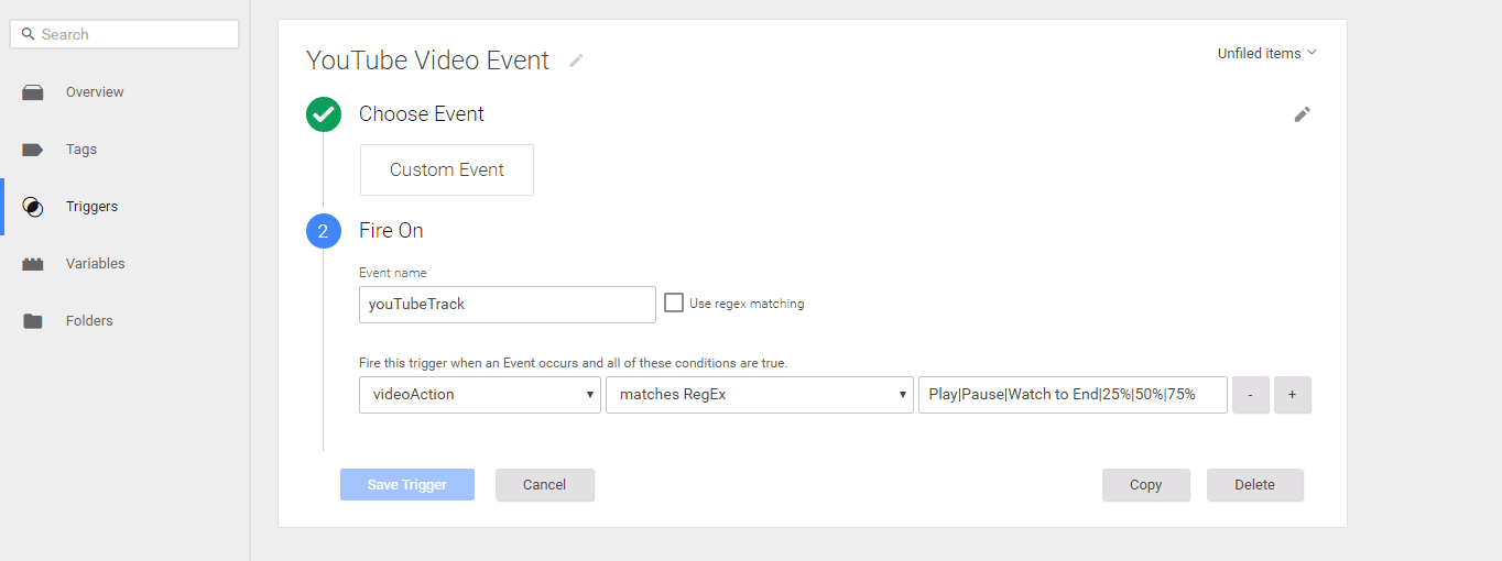 Creating a YouTube video event trigger.