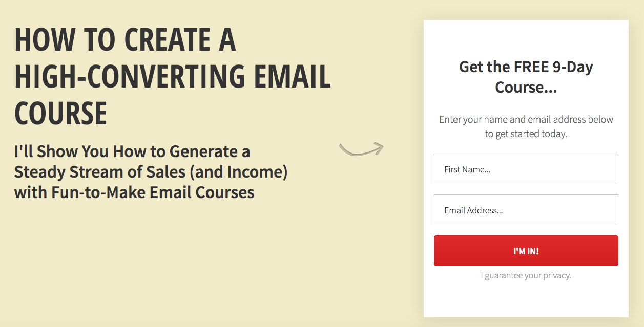 A great free email course which is spot on the intent of the user