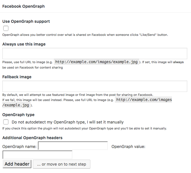 Facebook Open Graph support parameters