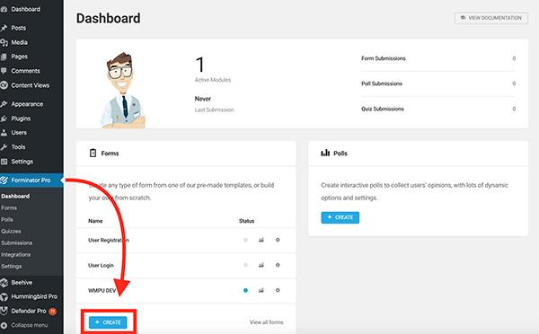 Forminator dashboard.