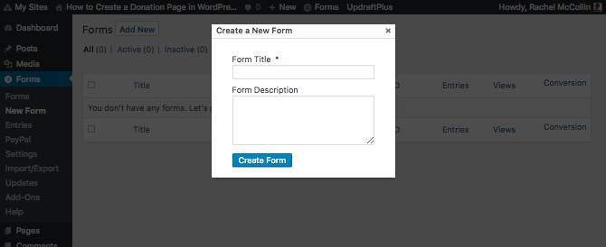 Adding a form - enter the name and description in the popup