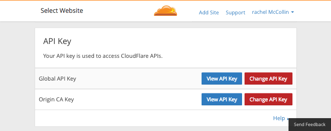 The Cloudflare API key in your account information
