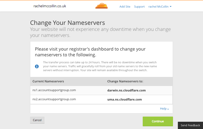 Cloudflare page with nameserver info