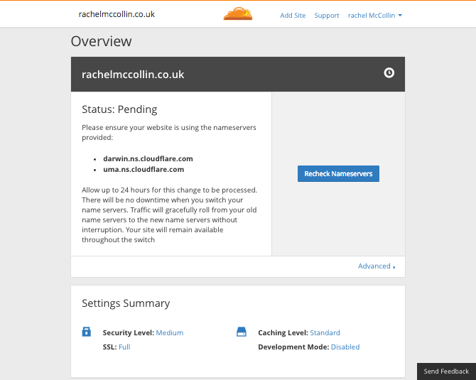Cloudflare - account summary screen
