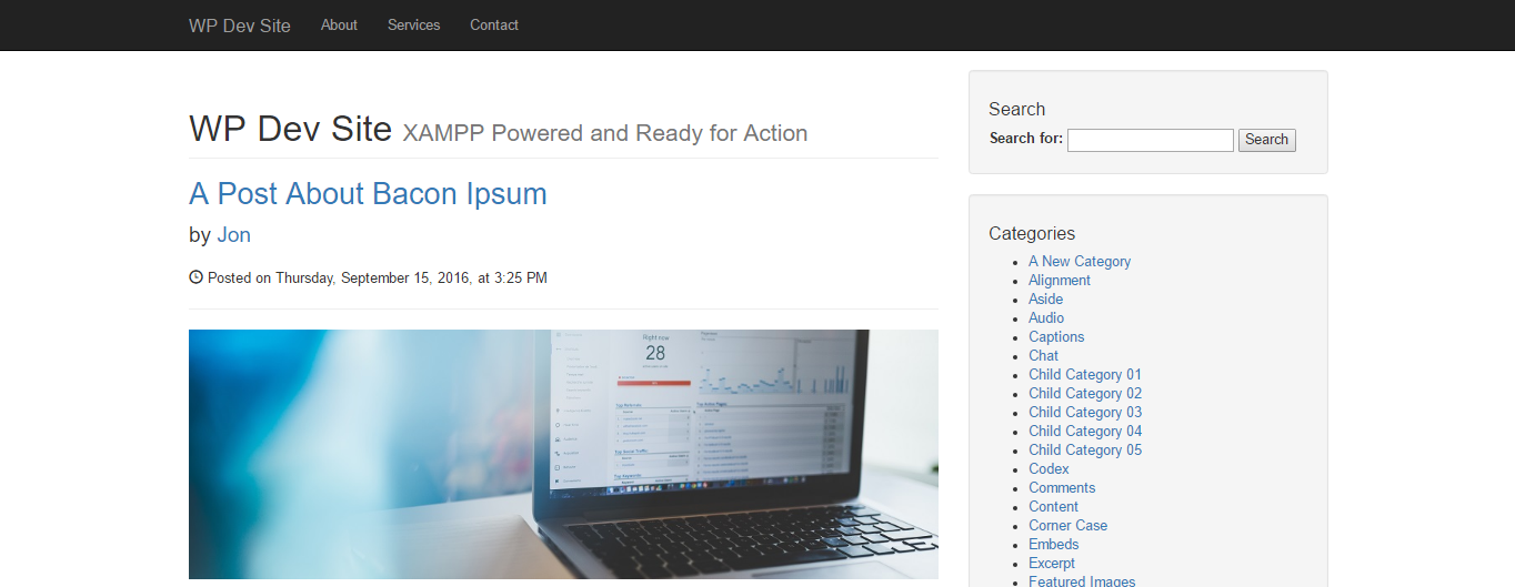 screenshot of completed simple blog theme