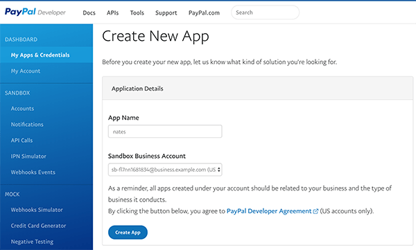 Create new app in PayPal.
