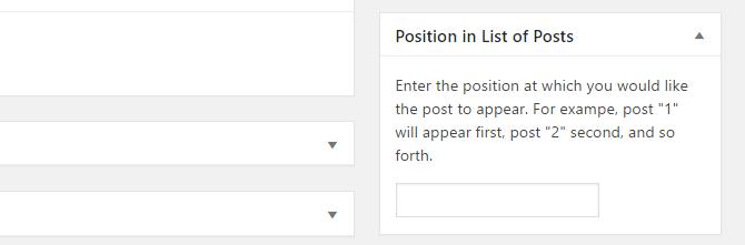 screenshot of custom sort order box on post edit screen