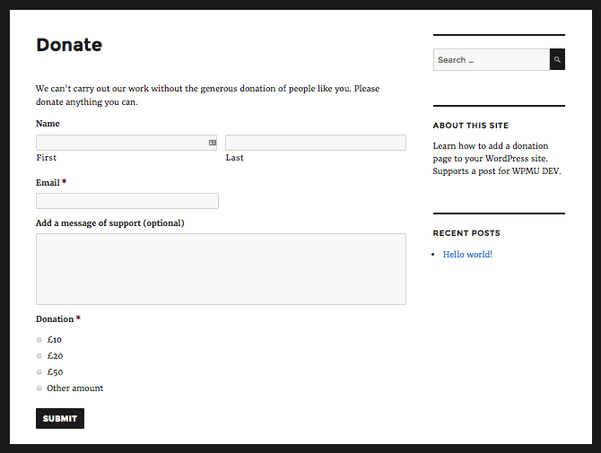 The donation page with the form