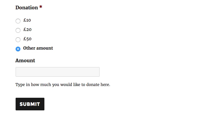 A field for the donation amount is displayed if the users selects the 'other' option