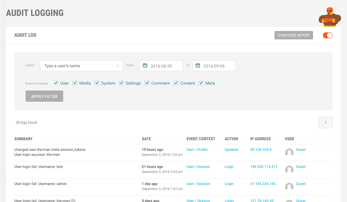Find user activity quickly the handy search tool.