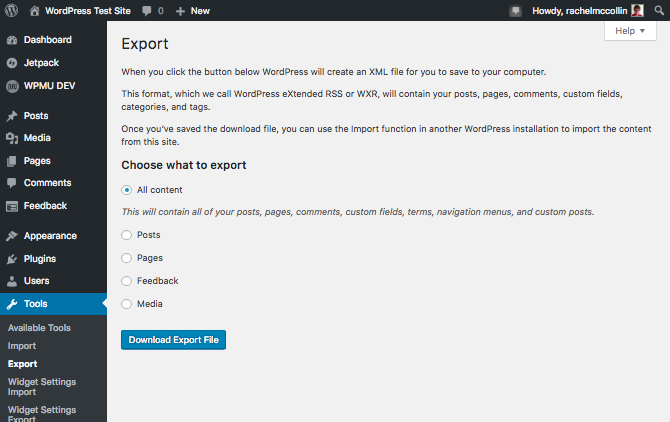 WordPress exporter screen