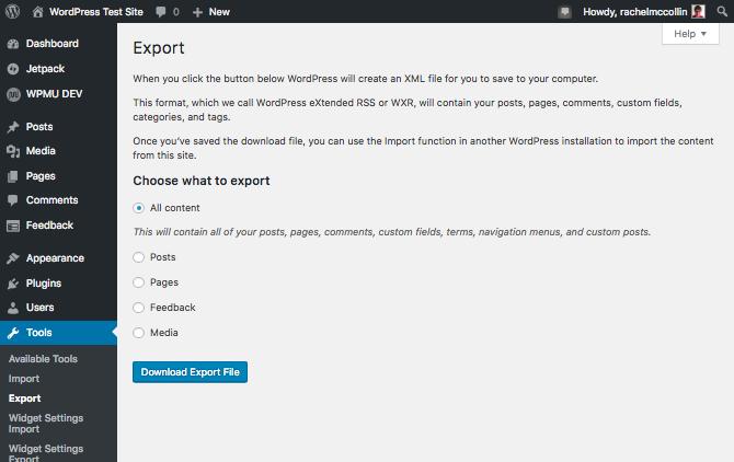 WordPress exporter screen