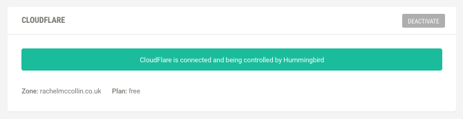 Hummingbird's confirmation box - Cloudflare is working