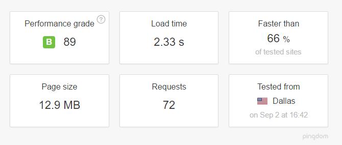 screenshot of pingdom website speed test