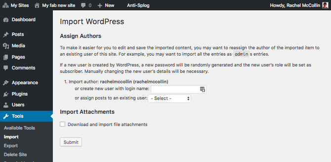 Importing authors using the Import tool