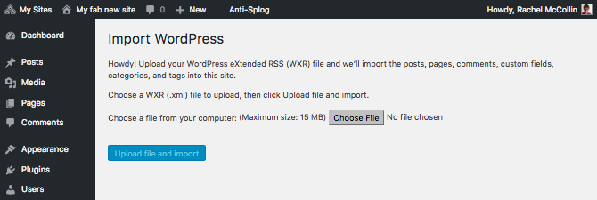 WordPress importer screen