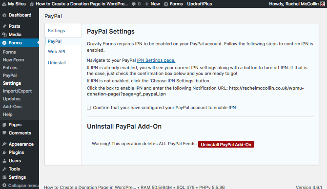 Instructions for linking paypal to gravity forms