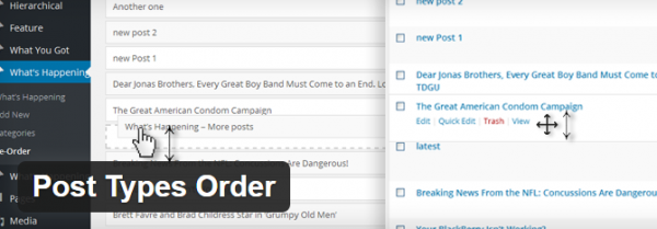 screenshot of post types order plugin from wp.org