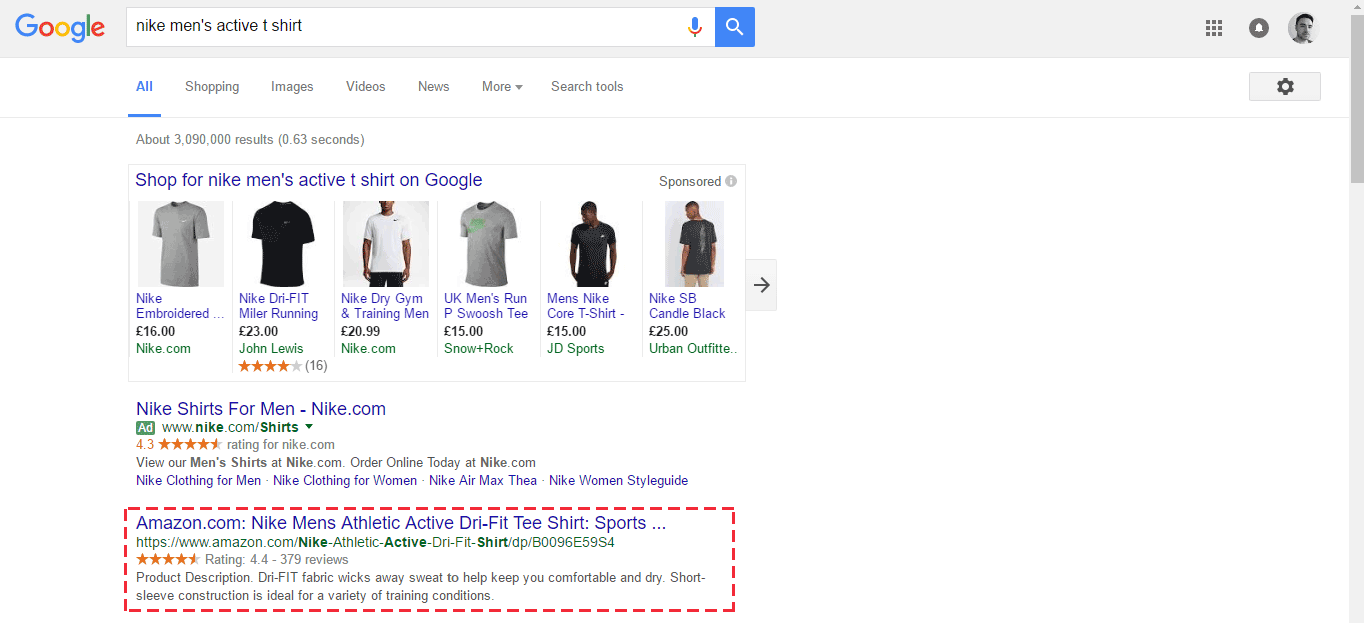An example of a product rich snippet.