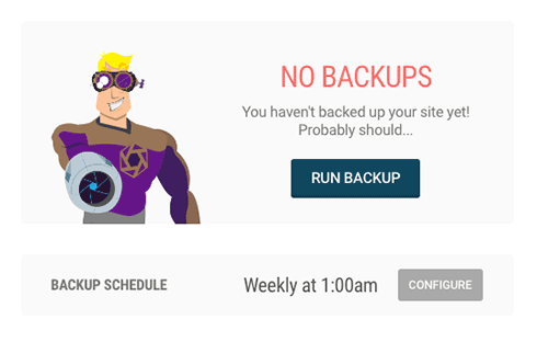 The managed backups dashboard.