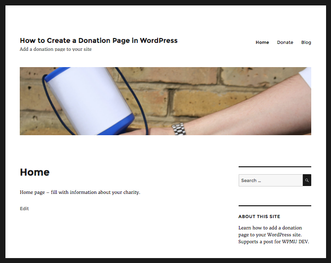 Site running twenty sixteen with a static home page
