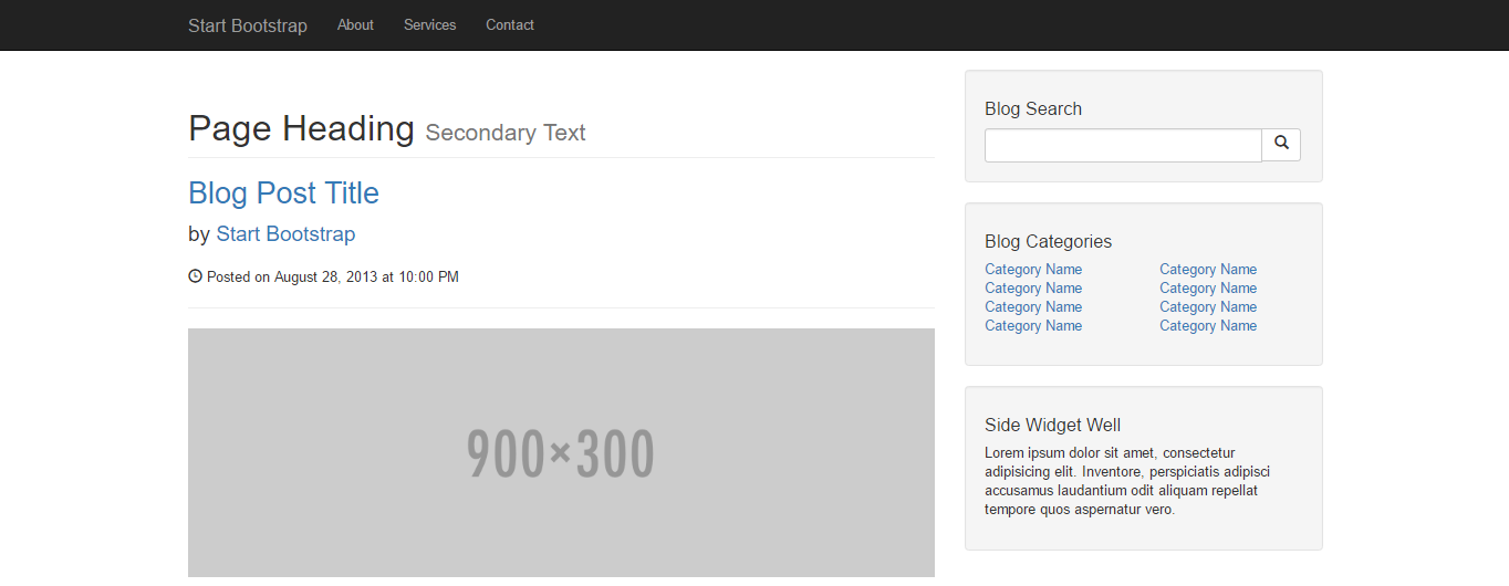 screenshot of the blog home template by start bootstrap