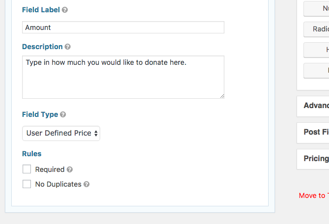 User defined donation settings