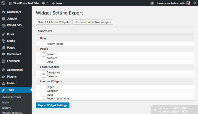 Widget export screen