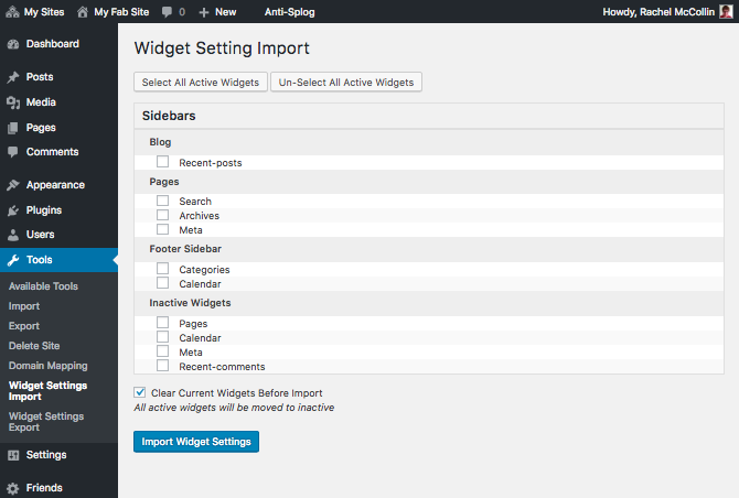 Widget import screen
