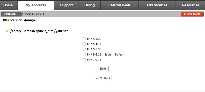 The cPanel PHP version control settings.