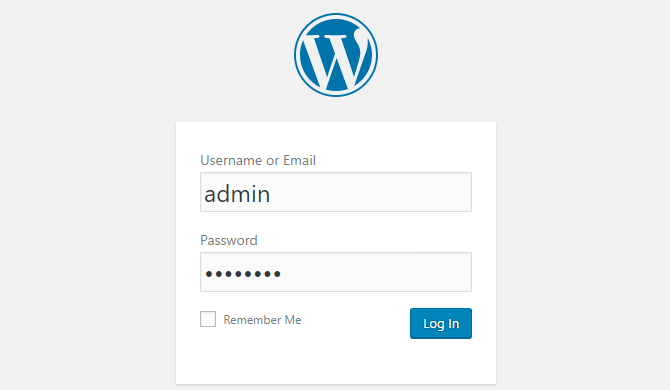 "A screenshot of someone logging into WordPress and using the username ""admin""."