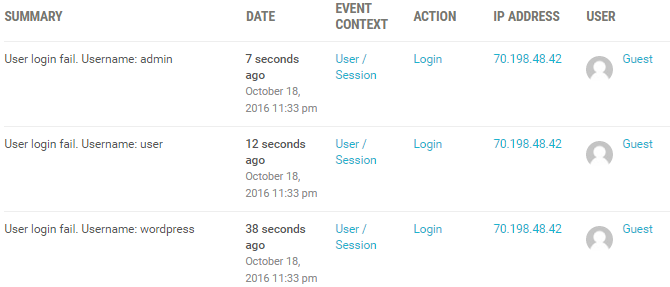 Defender audit log indicating repeat login failures by the same IP address