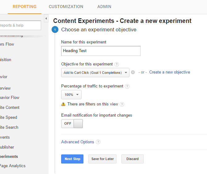 Choose what you would like your experiment to test.